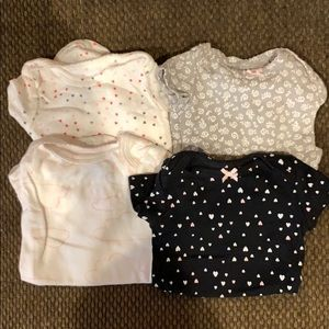 4 Carters NB short sleeve girl onesies